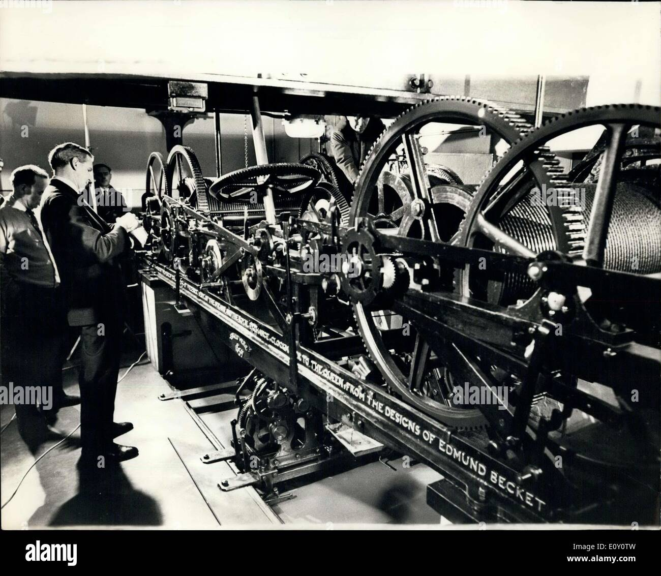 Feb. 18, 1968 - Inside Big Ben: Mr. Daniel Buckney checking his watch last night before stopping Big Ben in order Stock Photo