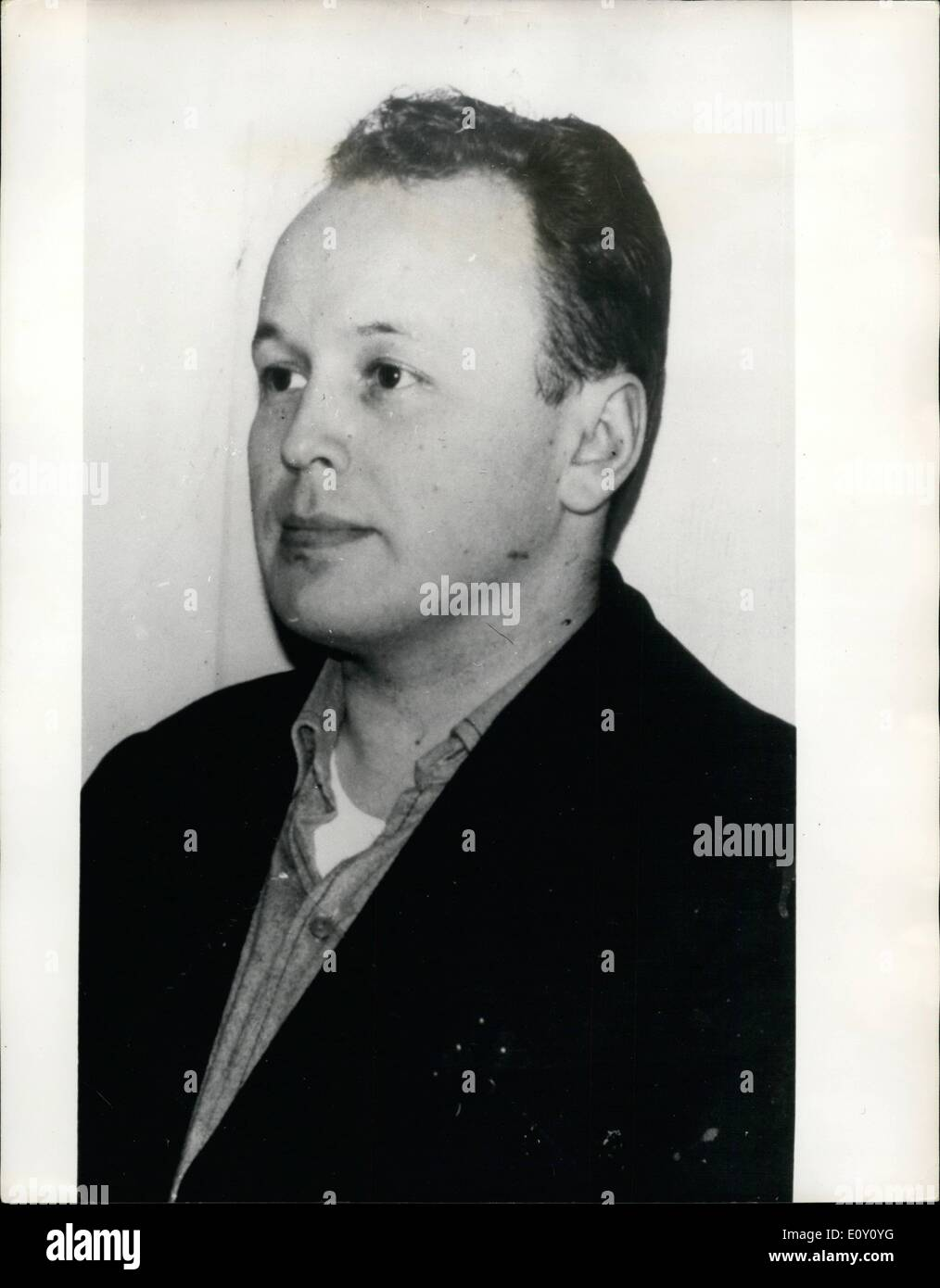 Mar. 03, 1968 - He Never Bothered To Count The Loot! The Danish police have caught bank robber, Matti Markkanen, a Finnish citizen who has admitted seven robberies, mostly in banks, amounting to 140,000 D.KR. He told the police that he never counted the money after a robbery - it was easier to read the exact figure the day after in the newspapers. Photo Shows:- Bank robber Matti Markkanen - he never bothered to count the loot! - Stock Image