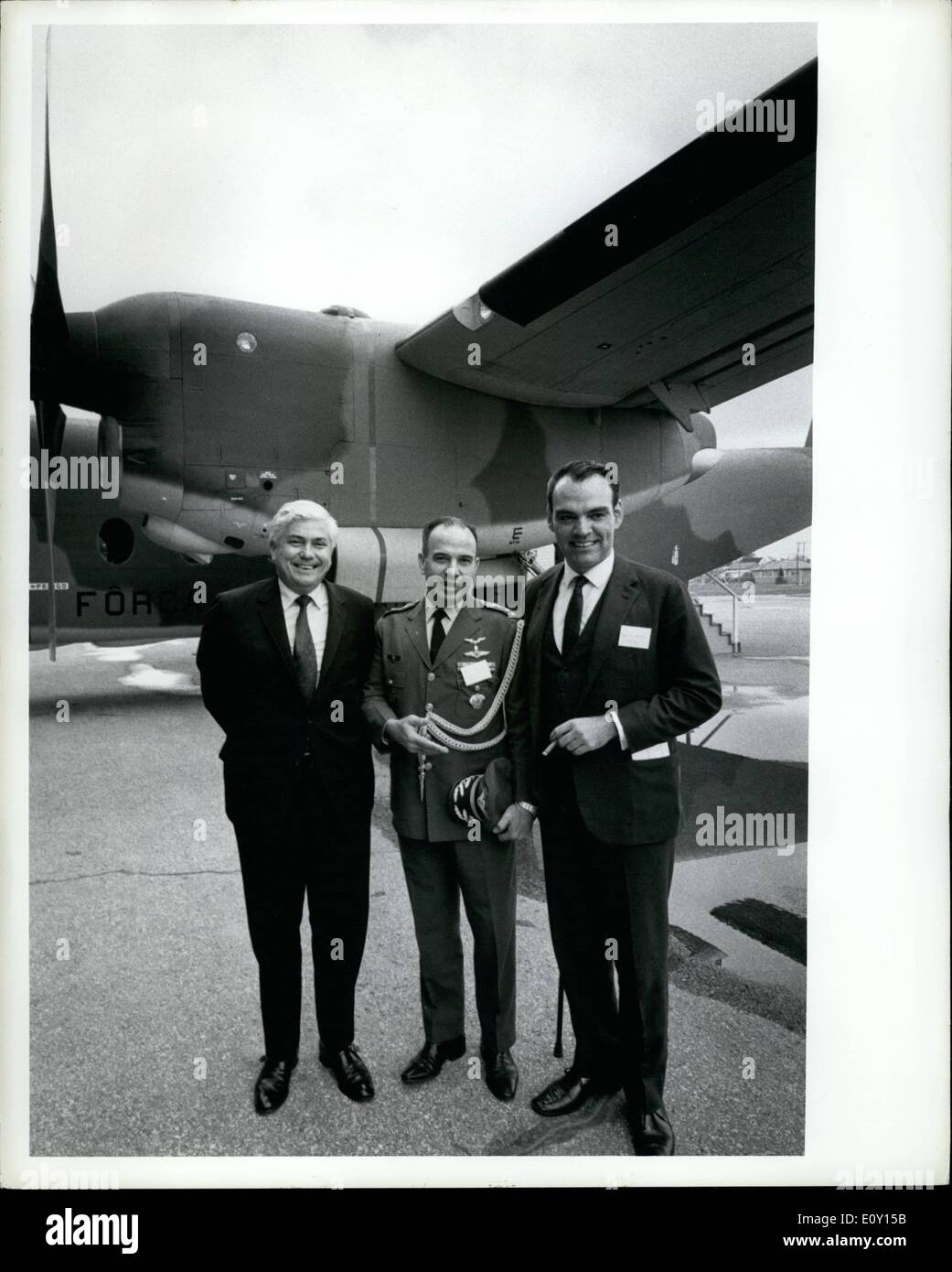 May 05, 1968 - De Havilland Canada Hands Over First Buffalo To The Brazilian Air Force: Today, at the Down view, Ontario plant of the de Havillan Aircraft of Canad Limited, Mr. W.B. Boggs, President of the Company, presented the Log Book for the first Buffalo of a Brazilian Air Force Contract for 12, to Colonel Paulo V. Salema, Brazilian At Attache to Canada - Stock Image