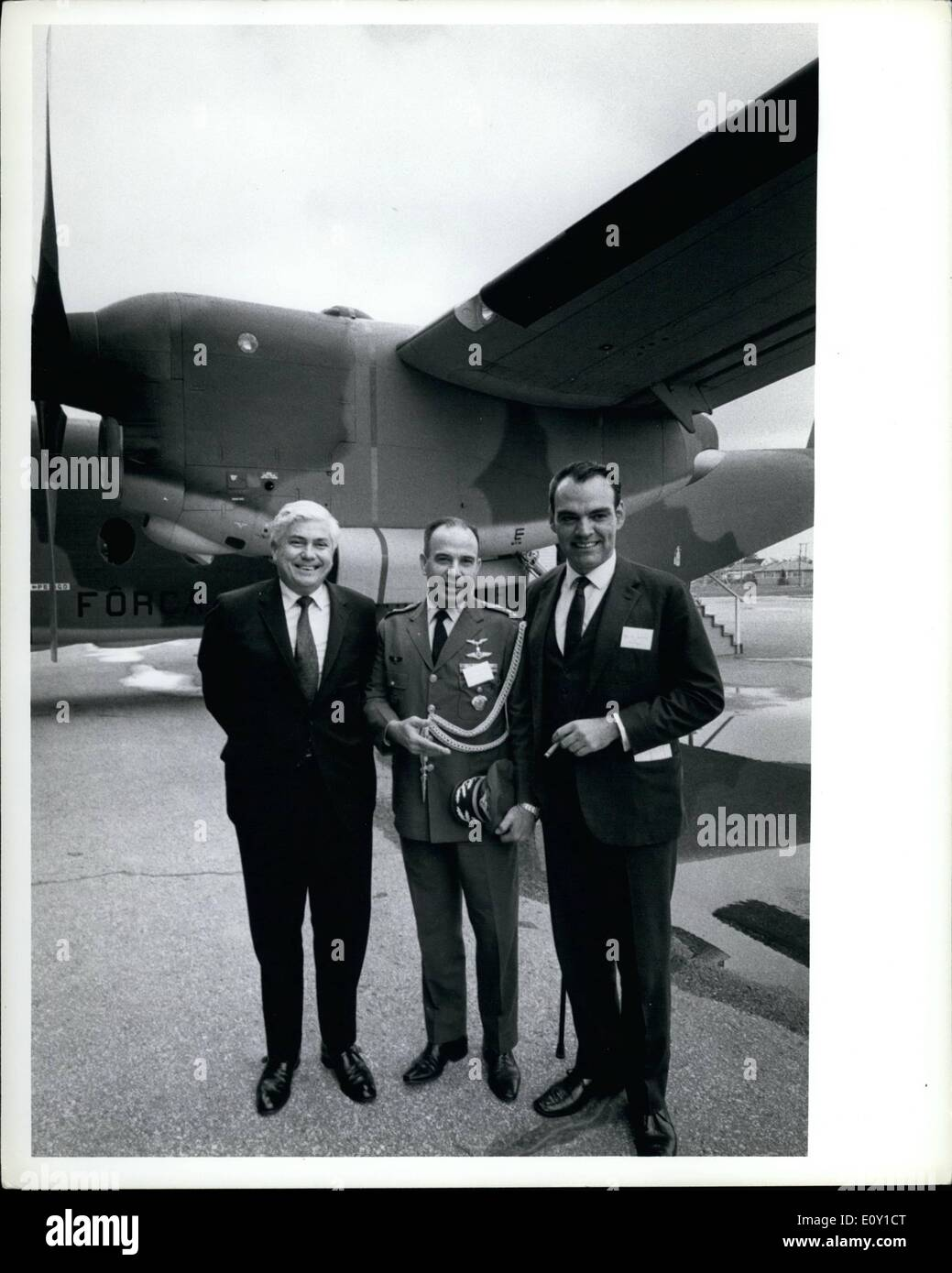 May 05, 1968 - De Havilland Canada Hands Over First Buffalo To The Brazilian Air Force. AT the Downsview, Ontario plant of The de Havilland Aircraft of Canada Limited, Mr.W.B. Boggs, President of the Company, presented the Log Book for the first Buffalo of a Brazilian Air Force contract for 12, to Colonel Paulo V. Salema, Brazilian Air Attache to Canada - Stock Image