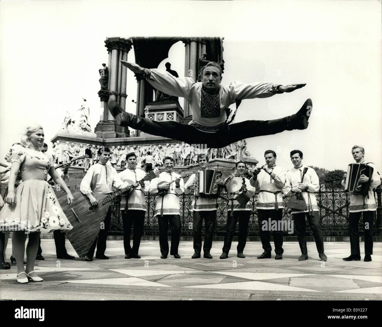 Jun. 06, 1968 - Artistes from the Russian Balalaika Orchestra rehearse for tonight's opening performance: The famous Stock Photo