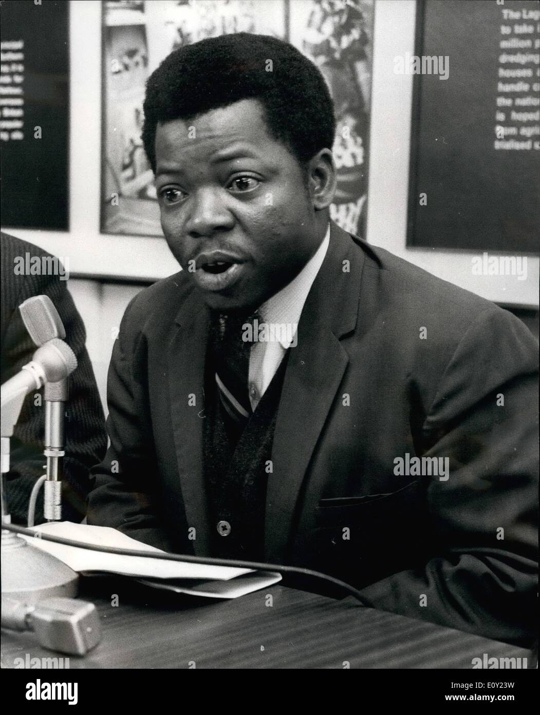 Jun. 06, 1968 - First IBO civilian administrator of the Fast central state of Nigeria strongly denies allegation of mass elimination of IBOS preferred against the Federal Military government of Nigeria; Mr. Anthony Ckpabi Asika, 31, an IBO of Onistshe origin, is the first Ibo civilian to be appointed Civil Administratio for the East Central State in the new Nigerian set up. At a Press Conference at Nigerial House yesterday Mr - Stock Image