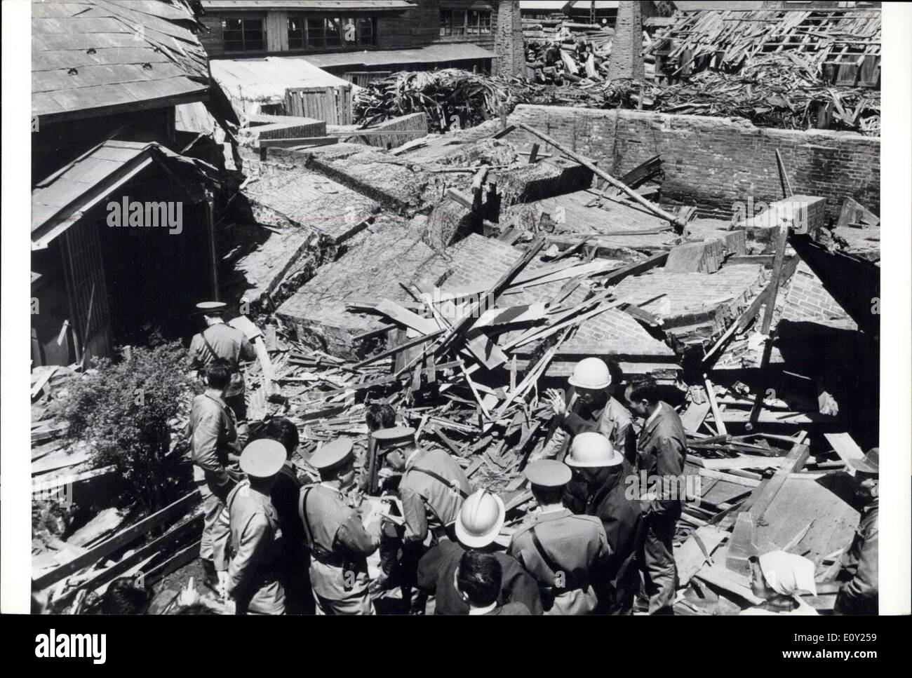 May 17, 1968 - Big Earthquakes Rock North Japan: Two violent earthquake struck an extensive area in Northern Japan on Thursday May 17, 1968, killing 38 people, injuring many, and destroying 800 buildings. Fires and tidal waves followed driving ships on the rocks, and sinking many fishing boats. It was the worst earthquake since the Good Friday earthquake in Alaska in 1964. The Northern Japan earthquake registered 7.8 on the Richter scale, just short of the 7.9 which leveled Tokyo and Yokohama in 1923 killing 100,000 people - Stock Image