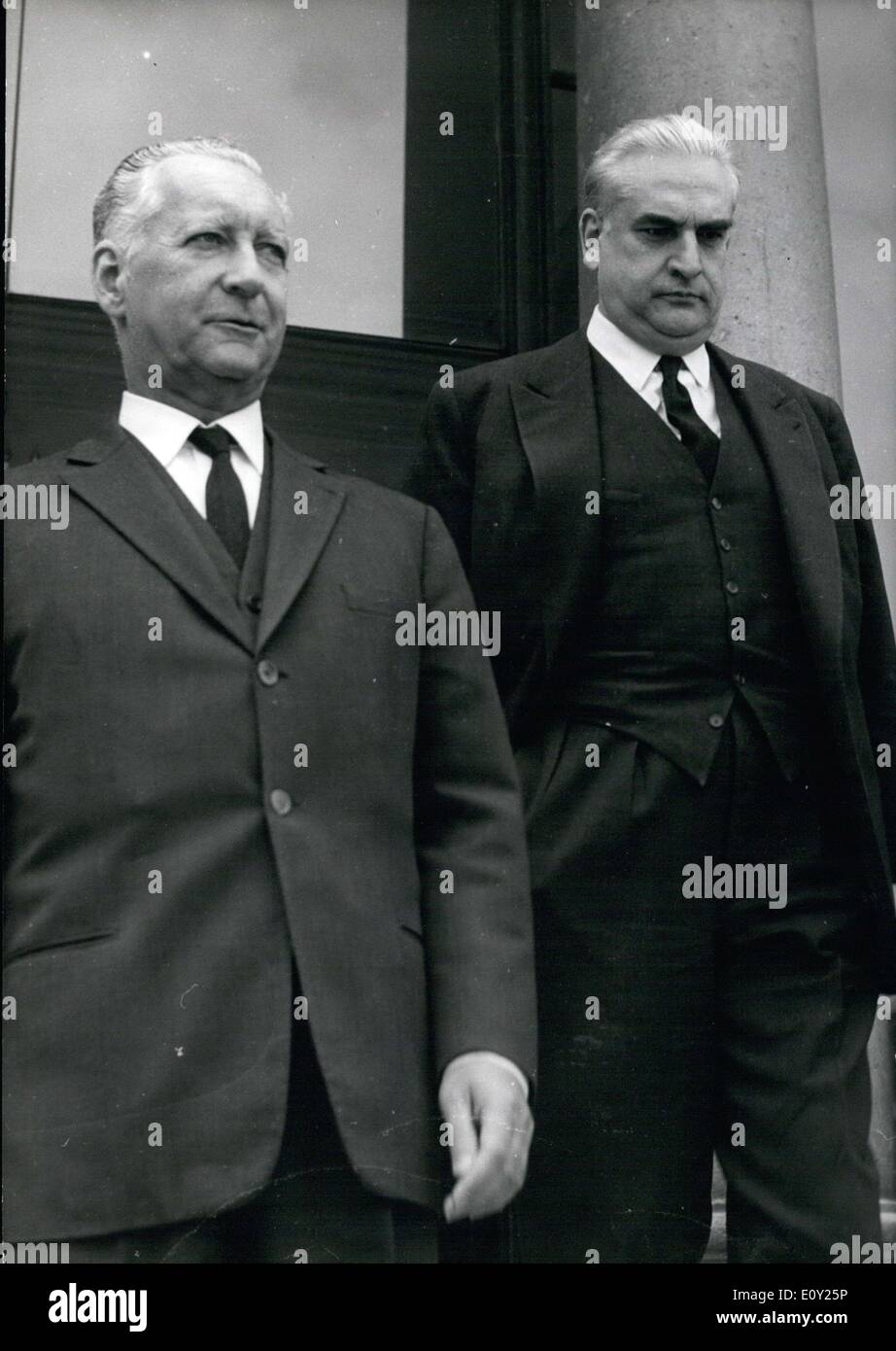 May 19, 1968 - A restricted meeting was held Sunday morning at the Elysee Palace in order to closely examine the current situation. Participants in this meeting included Minister of the Armies Messmer (left) and Minister of the Interior Fouche. Here they are shown leaving the Elysee Palace. - Stock Image