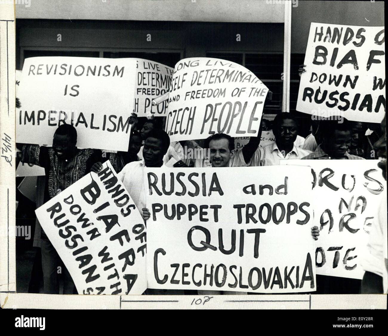Aug. 24, 1968 - First anti-Soviet demonstration in Tanzania: More than 2000 students and youth participated in a massive demonstration against the Soviet invasion of Czechoslovakia in front of the Soviet Embassy in DaresSalaam, Tanzania. The demonstrators throwing stones eggs and Russian literature were however all the time controlled by the Police from getting into wild violence. - Stock Image