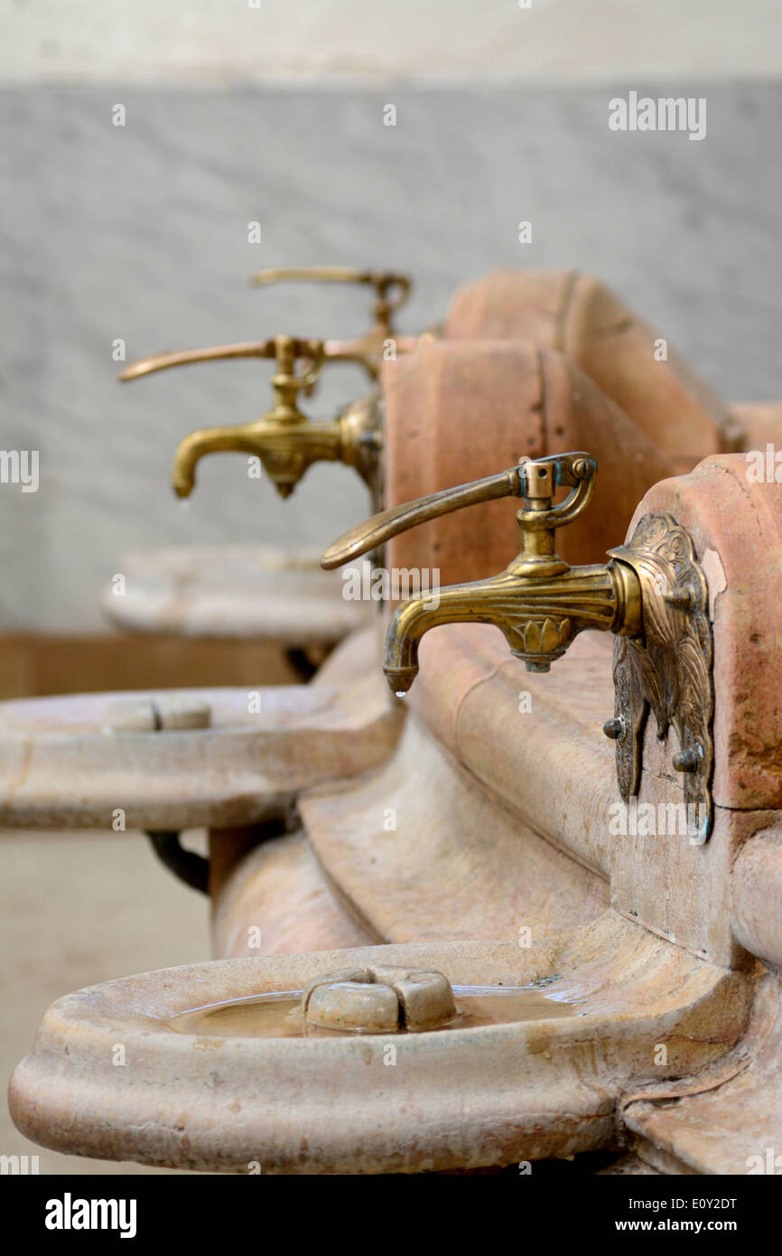 Spring water taps in the Source des Celestins, Vichy, Allier, Auvergne, France - Stock Image
