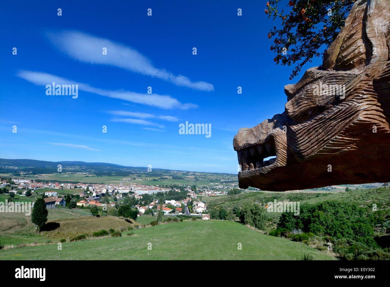 Sculpture of the Beast of Gévaudan, village of Saugues, Haute Loire, Auvergne, France - Stock Image