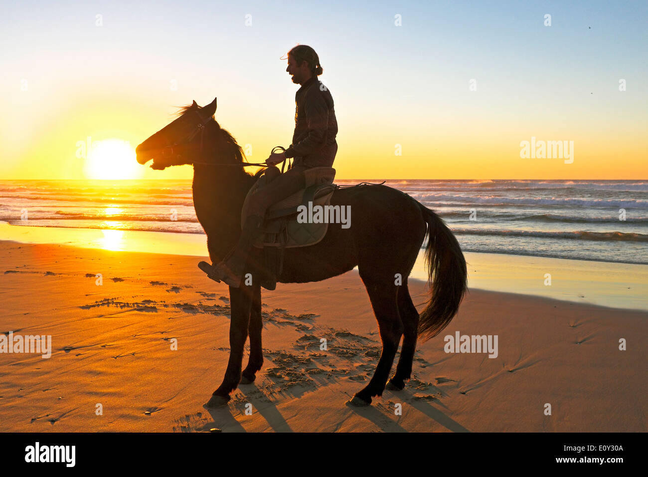 Horse riding on the beach at sunset - Stock Image