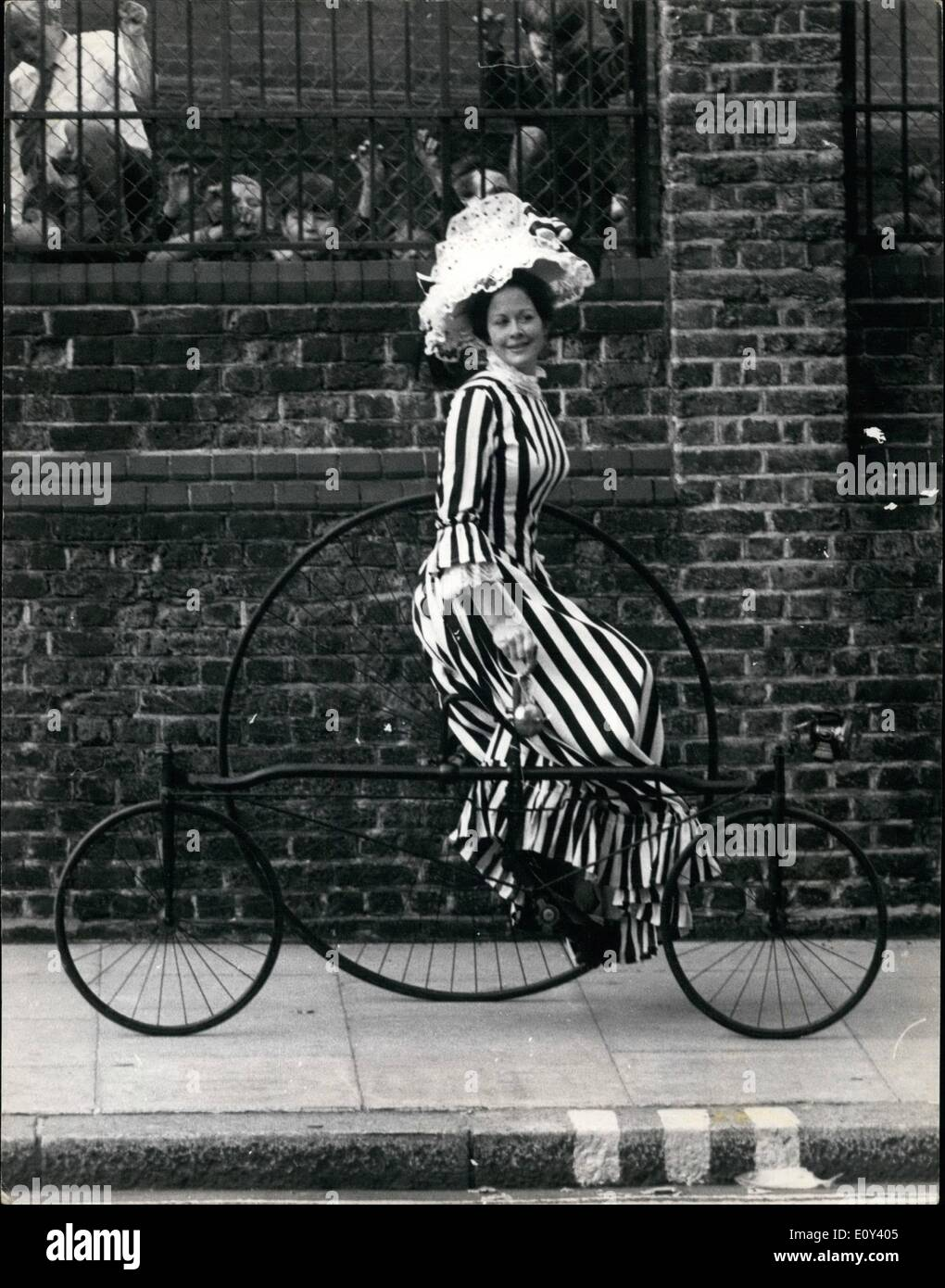 Oct. 10, 1968 - SOTHEBY'S SALE BY AUCTION OF VINTAGE AND VETERAN VEHICLES: Veteran, Edwardian and Vintage vehicles are to be sold by auction by Sotheby's at the Royal Horticultural Society's New Hall, Westminster on Thursday Oct. 24th. Photo shows Cycling in the 1870's was a tricky business but Susan Came, dressed in full Victorian cycling dress managed to ride this Rudge Rotary Tricycle (1878) one of the vintage vehicles which will be up for sale next Thursday. - Stock Image