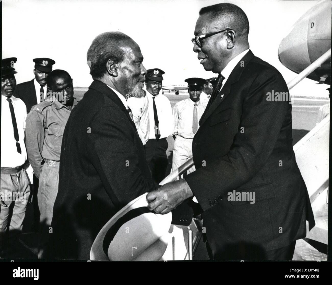 Oct. 10, 1968 - Enclosed please pictures taken in Nairobi today of the visit of President William Tubman of Liberia. President Tubman is here for a 9 days State Visit to Kenya. President Tubman tomorrow opens the Nairobi Agricultural Show - the biggest show of its Kind in Africa. Photo Shows President Tubman with President Jomo Kenyatta in Nairobi. - Stock Image
