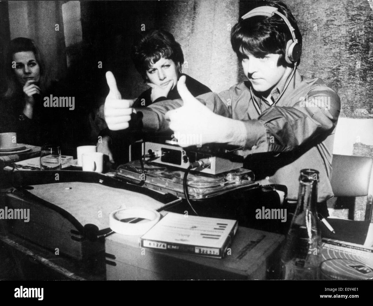 Singer Paul McCartney in studio recording cartoon - Stock Image