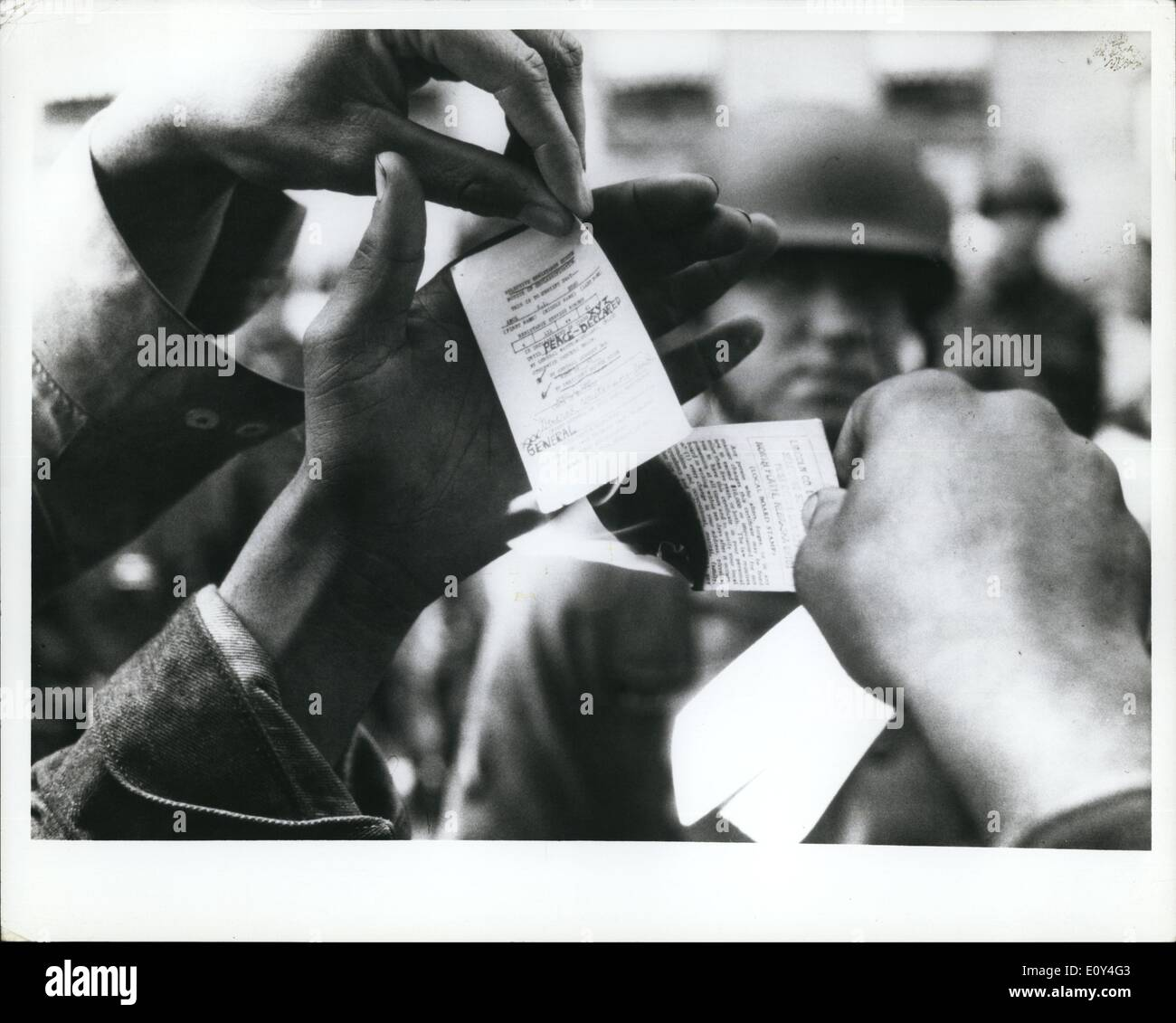 Aug. 08, 1968 - Chicago Democratic Party Convention Demonstrations Draft card burning. - Stock Image