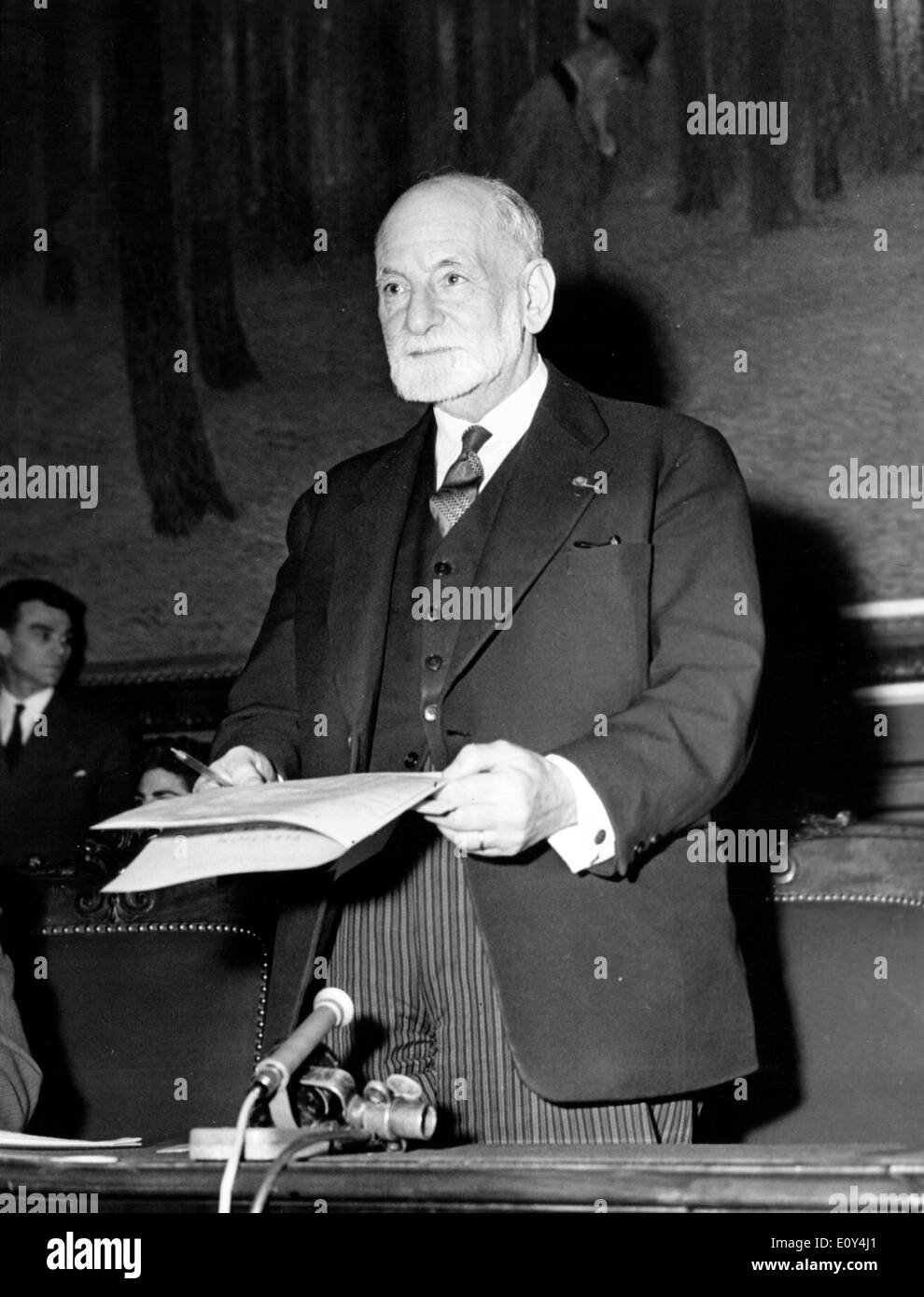 Oct 10, 1968; Paris, FRANCE; The French Jurist RENE CASSIN deputy chairman of the NATO committee for human rights. (Credit - Stock Image