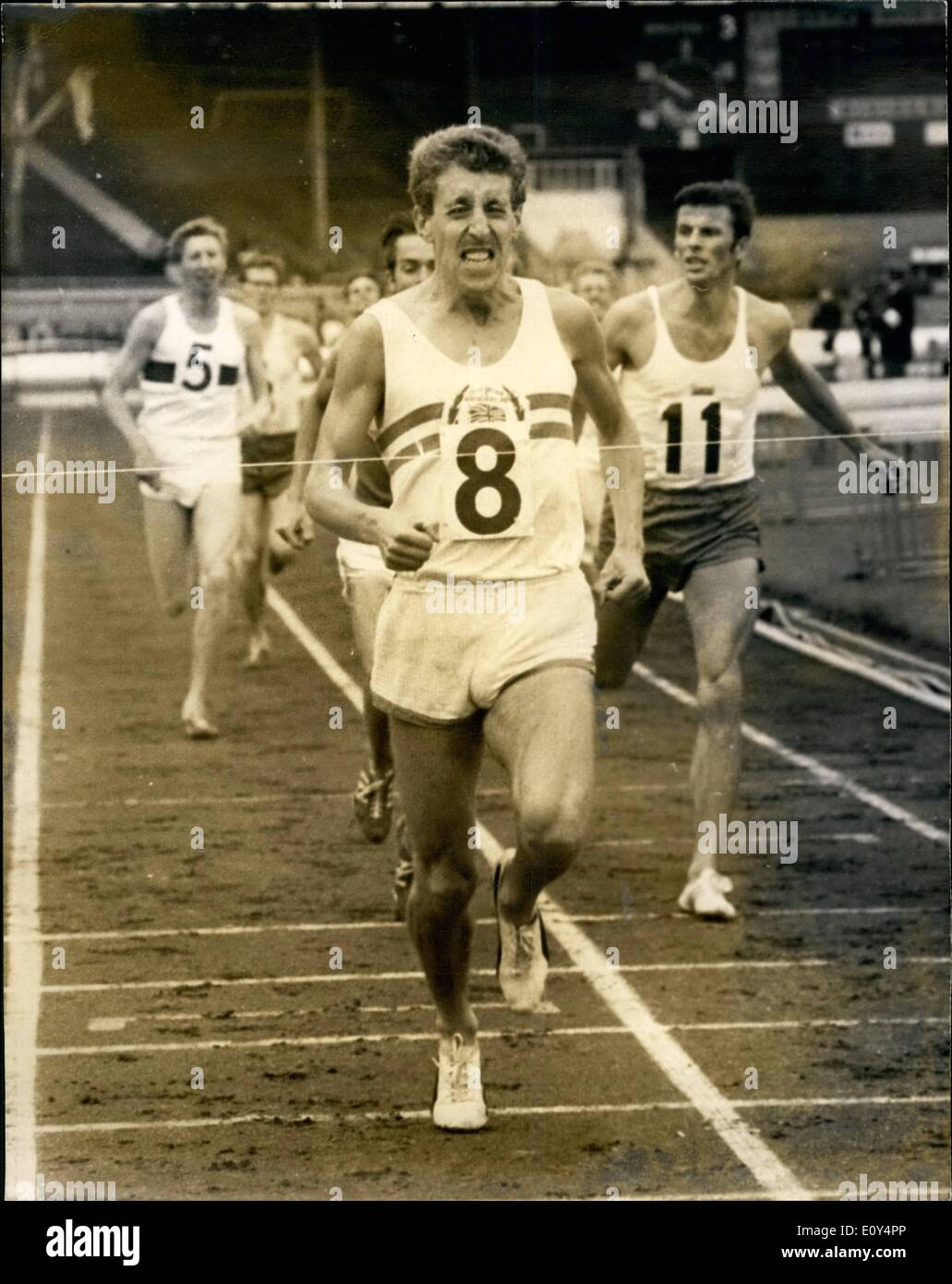 Aug. 08, 1968 - International Athletics At White City John Whetton G.B. Wins ''Emsley Carr'' Mile; Photo Shows John Whetton G.B. seen winning the ''Emsley Carr'' mile at the White City today. - Stock Image