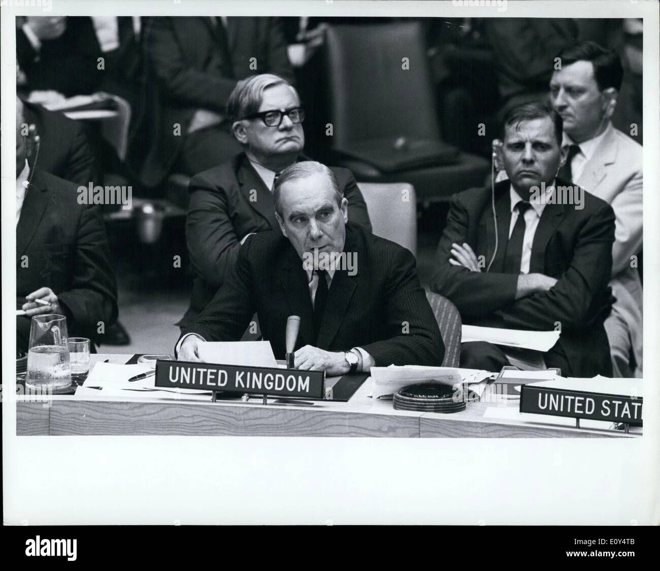 Aug. 08, 1968 - Security Council Begins Debate On Situation In Czechoslovakia: The Security Council tonight began debate, at the request of six Council members, concerning ''the present serious situation in th Czechoslovakia Socialist Republic''. The decision to take up this item - as requested today by Canada, Denmark, France, Paraguay, the United Kingdom and the United States - was taken by a vote of 13 in favour to 2 against (Hungary, Soviet Union) - Stock Image