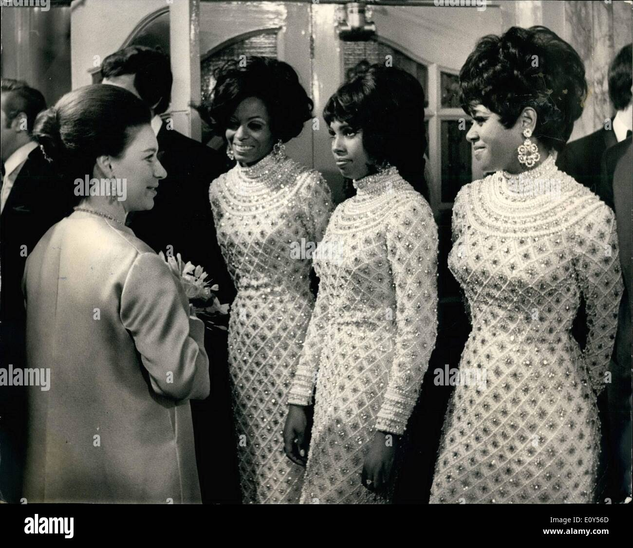 Nov. 11, 1968 - Royal Attend The Royal Variety Performance AT The London Palladium: Queen Elizabeth the Queen Mother, was accompanied by Princess Anne, Prince Charles, Princess Margaret, and her Husband, Lord Snowdon, when they attended the Royal Variety Performance at the London Palladium this evening in aid of the Variety Artistes Benevolent Fund. Phot Shows Princess Margaret seen in conversation with the Supremes pop group after the show. - Stock Image