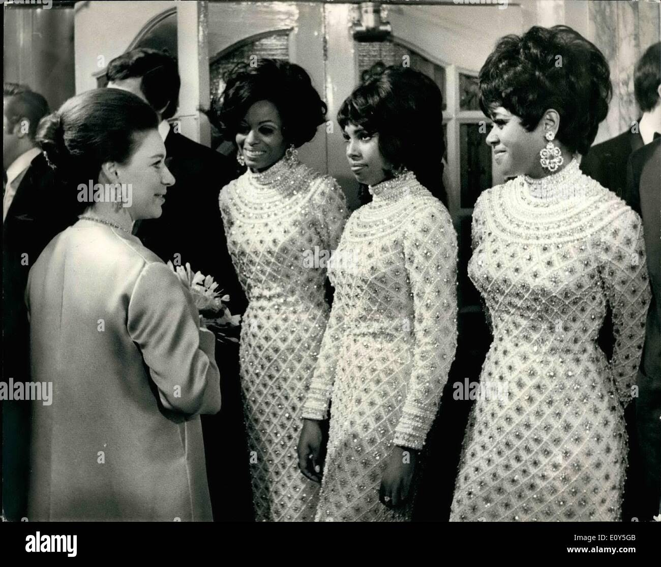 Nov. 11, 1968 - Royals Attend The Royal Variety Performance At The London Palladium: Queen Elizabeth, the Queen Mother, was accompanied by Princess Anne, Prince Charles, Princess Margaret, and her husband, Lord Snowdon, when they attended the royal Variety Performance at the London Palladium this evening in aid of the Variety Artistes 'Benevolent Fund. Photo Shows Princess Margaret seen in conversation with the Supremes pop group after the show. - Stock Image