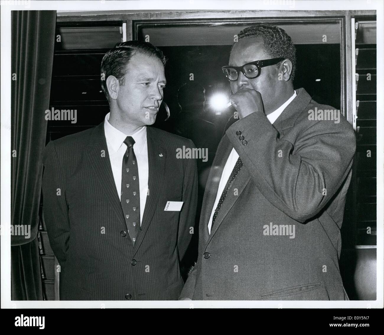 Nov. 11, 1968 - Afro-American Institute President Waldemar Nielsen and Ibrahim Egal, Prime Minister of Somalia at a party by the Kenya Government. - Stock Image