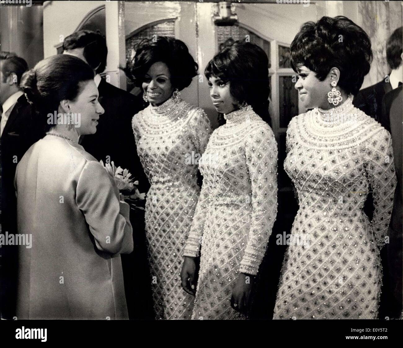 Nov. 18, 1968 - Royals attend the Royal Variety Performances at the London Palladium : Queen Elisabeth ,the queen Mother, was accompanied by Princess Anne, princes Charles, Princess Margaret, and her husband, Lord snowdon, when they attended the Royal Variety Performance at the London Palladium this evening in aid of the Variety Artistes, Beelent Fund. Photo shows Princess Margaret seen in conversation with the Suprems pop group after the show. - Stock Image