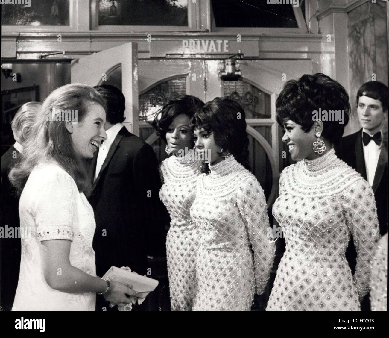 Nov. 18, 1968 - Royals attend the Royal variety performance at the London Palladium: Queen Elizabeth the Queen Mother, was accompanied by Princess Anne, Prince Charles, Princess Margaret and her husband, Lord Snowdown, when they attended the Royal Variety Performance at the London Palladium this evening (Nov. 18) in aid of the Variety Artistes! Benevolent Fund. Photo shows Princess Anne stops to chat to the Supreme pop group when she met the stars after the show. - Stock Image