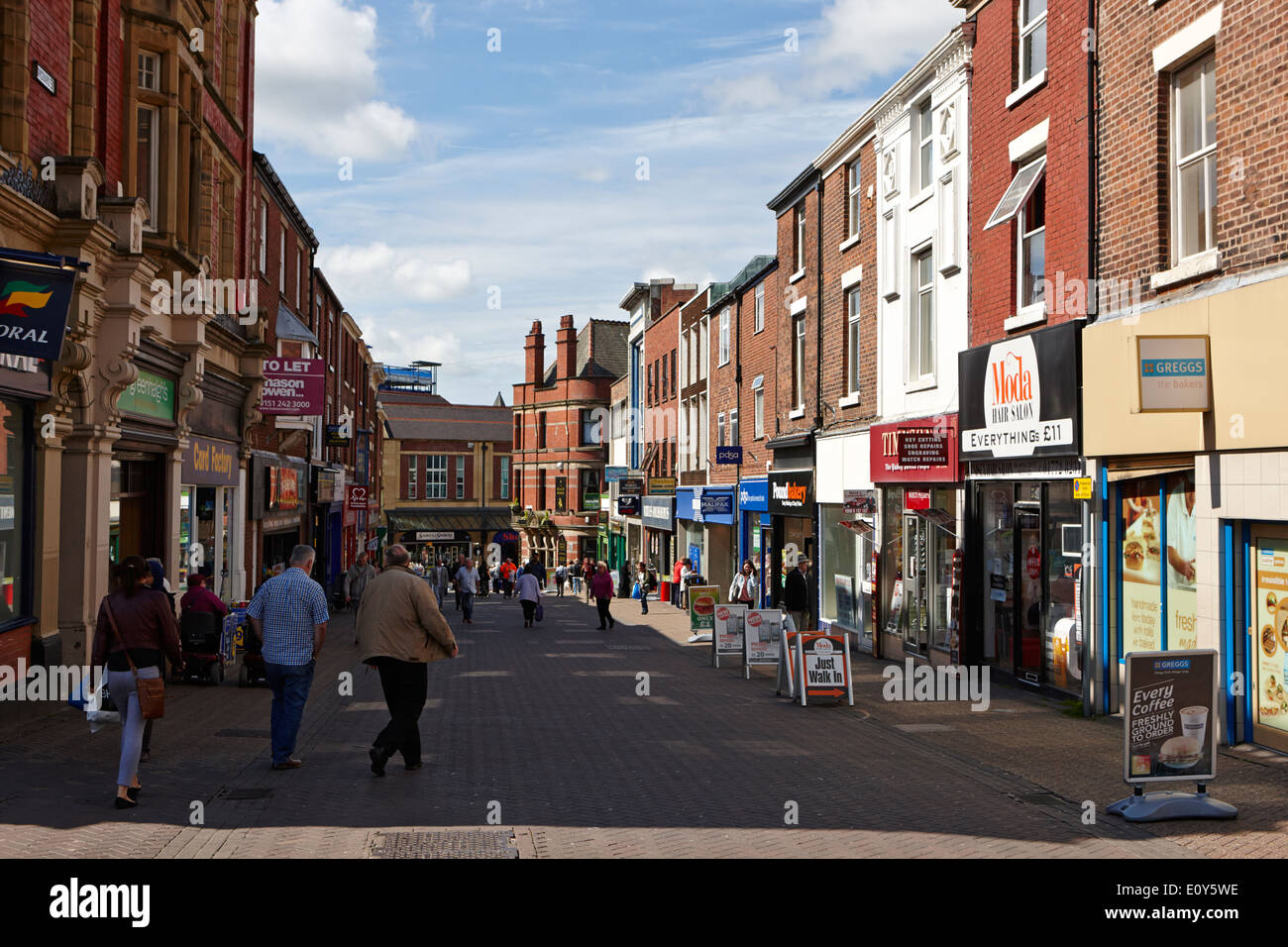 orchard street in the pedestrian shopping area of Preston city centre England UK - Stock Image