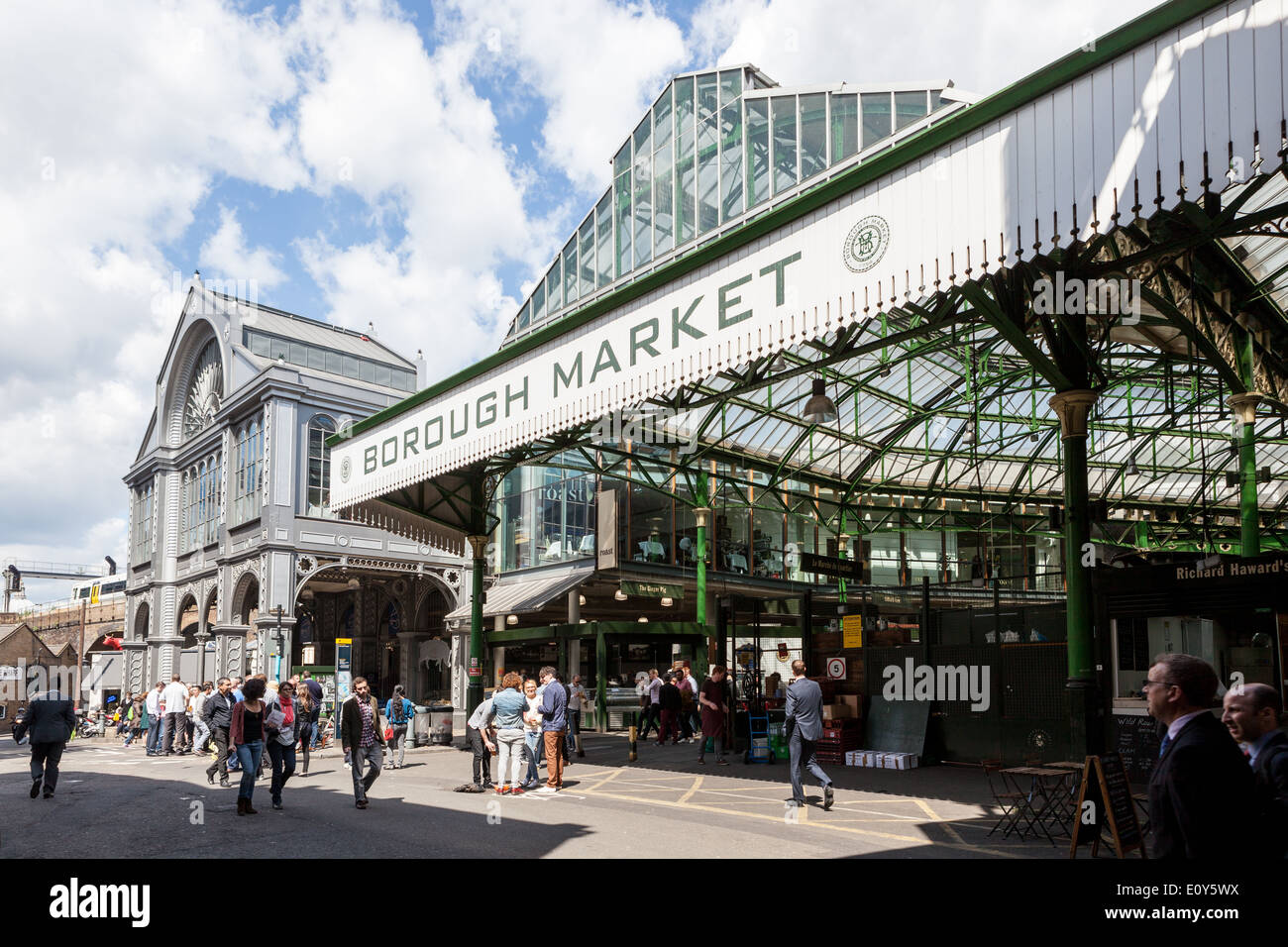 Entrance to Borough Market, near London Bridge. - Stock Image