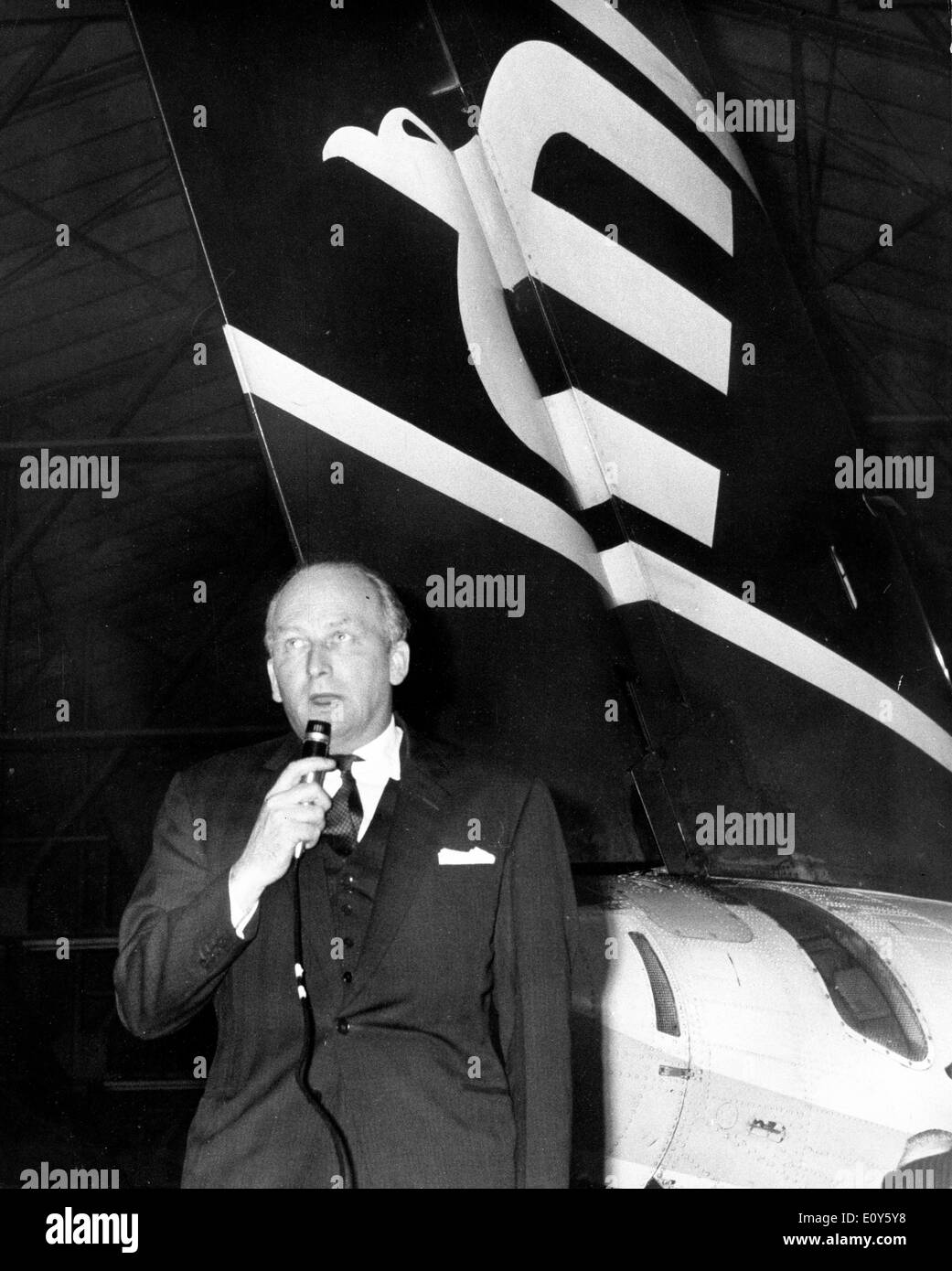 Nov 20, 1968; London, UK; British Eagle's final debt may be more than 4,000 pounds creditors were told today. This was made clear from the figures given by Mr. F.S. McWhirter, the city accountant and the airline's liquidator, at the creditors meeting hold in a hangar at Heathrow Airport. In the picture is Mr. HAROLD BAMBERG , chairman and managing director, founder of the British Eagle at the meeting. - Stock Image