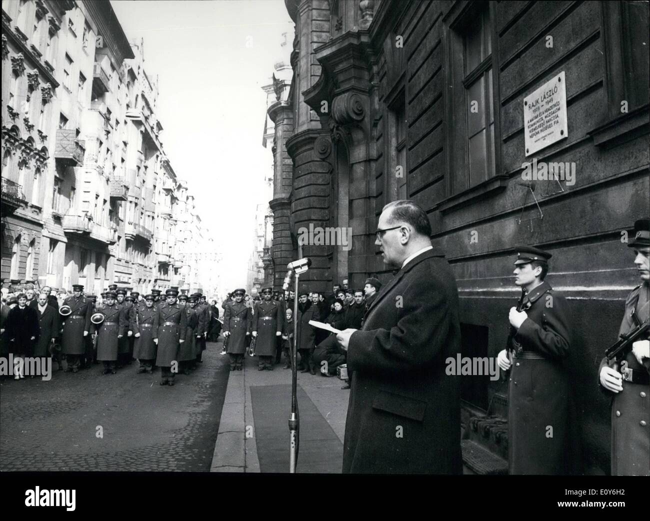 Mar. 03, 1969 - Plaque Unveiled In Budapest In Honour Of Laszlo Rajk, Outstanding Figure Of The Communist Movement: Stock Photo