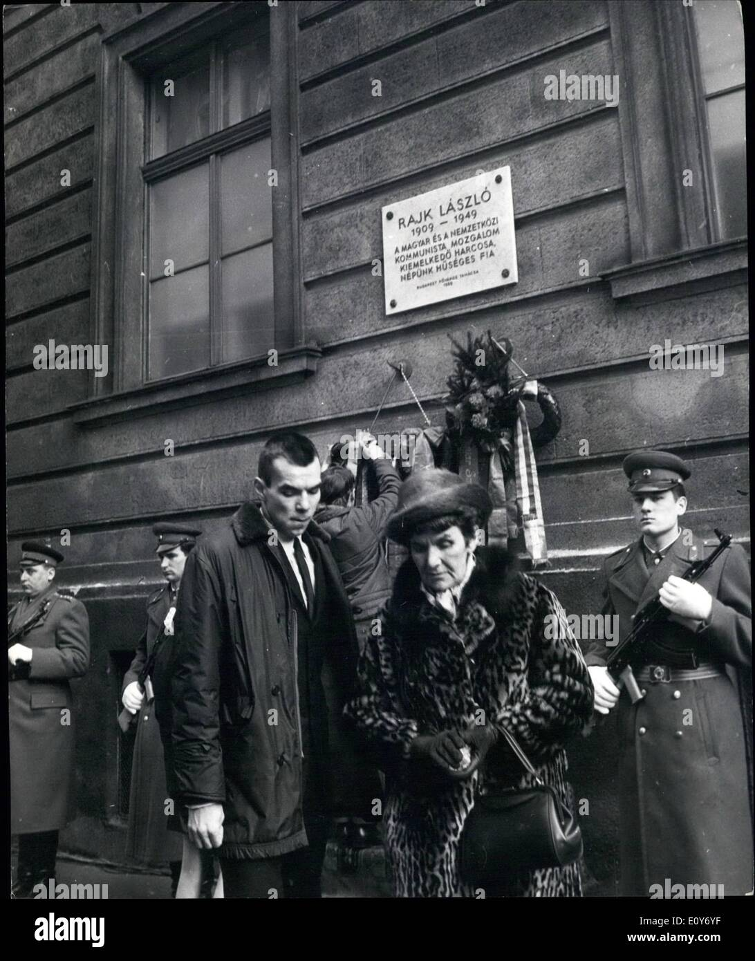 Mar. 03, 1969 - Plaque Unveiled In Budapest In Honour Of Laszlo Rajk, Outstanding Figure Of The Communist Movement: After a decision by the Budapest Municipal Council to rename Pnnonia Street in the 13th district of the capital Rajk Laszlo Street, on the 60th anniversary of the birth of Laszlo Rajk, a leading figure of the Hungarian and international communist movement, a plaque was unveiled in his memory. Laszlo Rajk was executed in 1949 after trial and conviction on the basis of fabricated charges during the period of the personality cult - Stock Image
