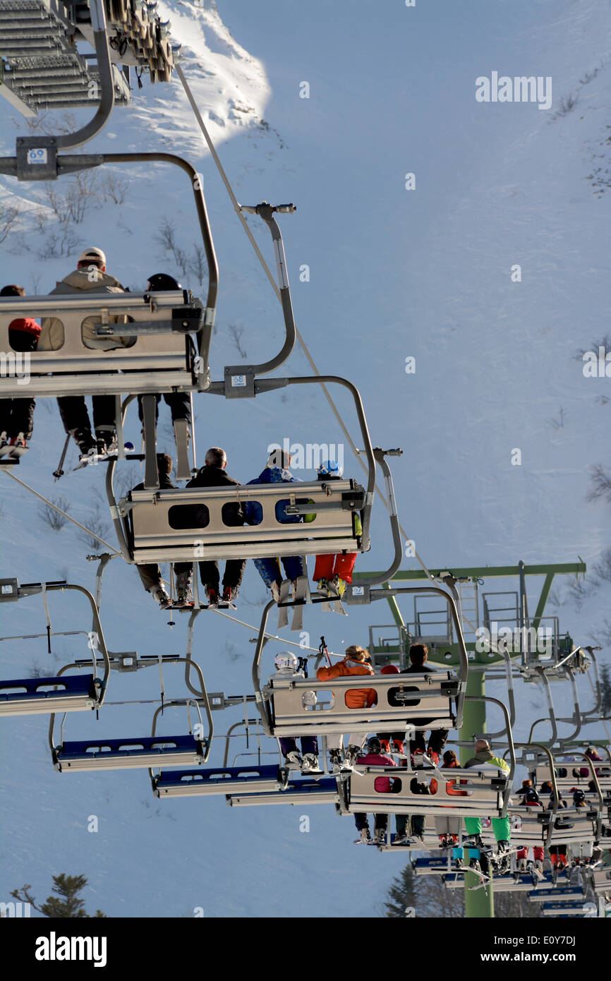 Row of chairlifts. Le Mont Dore ski resort. Auvergne. France Stock Photo