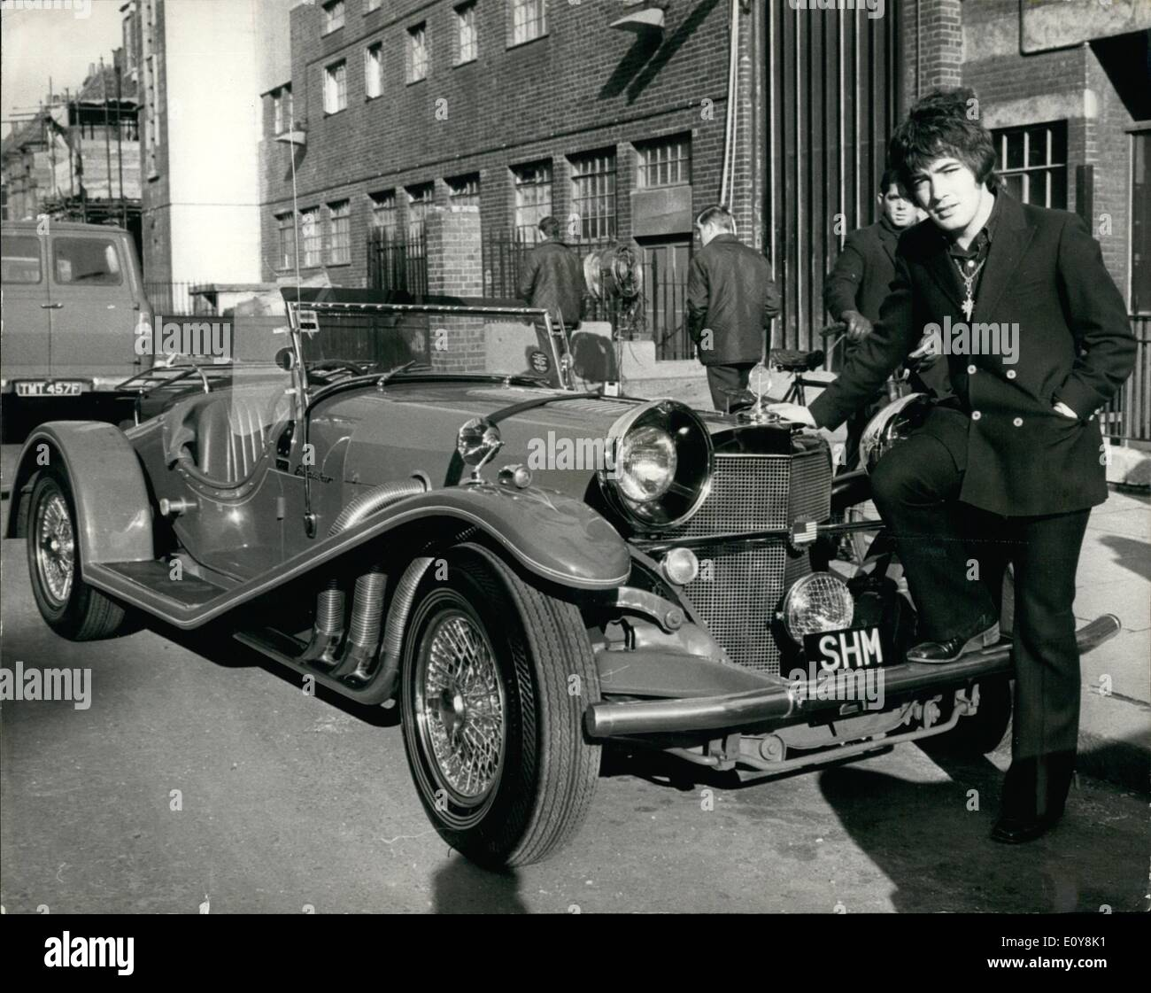 Feb. 02, 1969 - Barry Ryan Buys Tommy Steele's Mercedes. Pop singer Barry Ryan, pictured at the B.B.C. Lime Grove Studios, where he was rehearsing - with the £6,000 Mercedes car he has just bought from Tommy Steels. It is a 1967 Mercedes built as a replica of a 1936 model - Stock Image