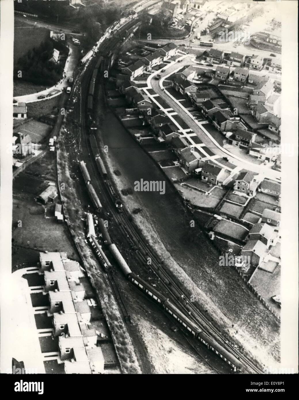 May 05, 1969 - Six Killed And 103 Injured As London Express Crashes: Six people died when the abordonian Express crashed outside Morpeth Station, Northpoland. The Express had left kings Cross Station, London early on Tuesday evening at the crash took place at about two O'clock in the morning. Photo Shows: The wreckage of the crack Aboronian Epress viewed from the air today. - Stock Image