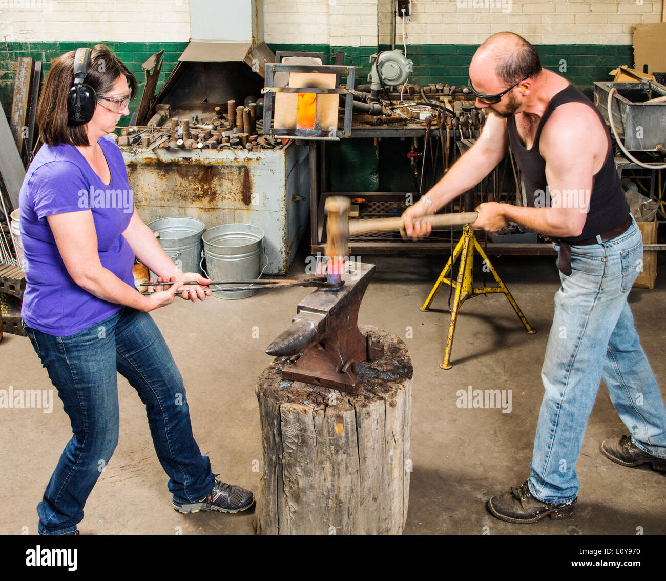 Artisans Nicole & Harry Hansen, Sterling & Steel, create original sterling silver and iron pieces - Stock Image