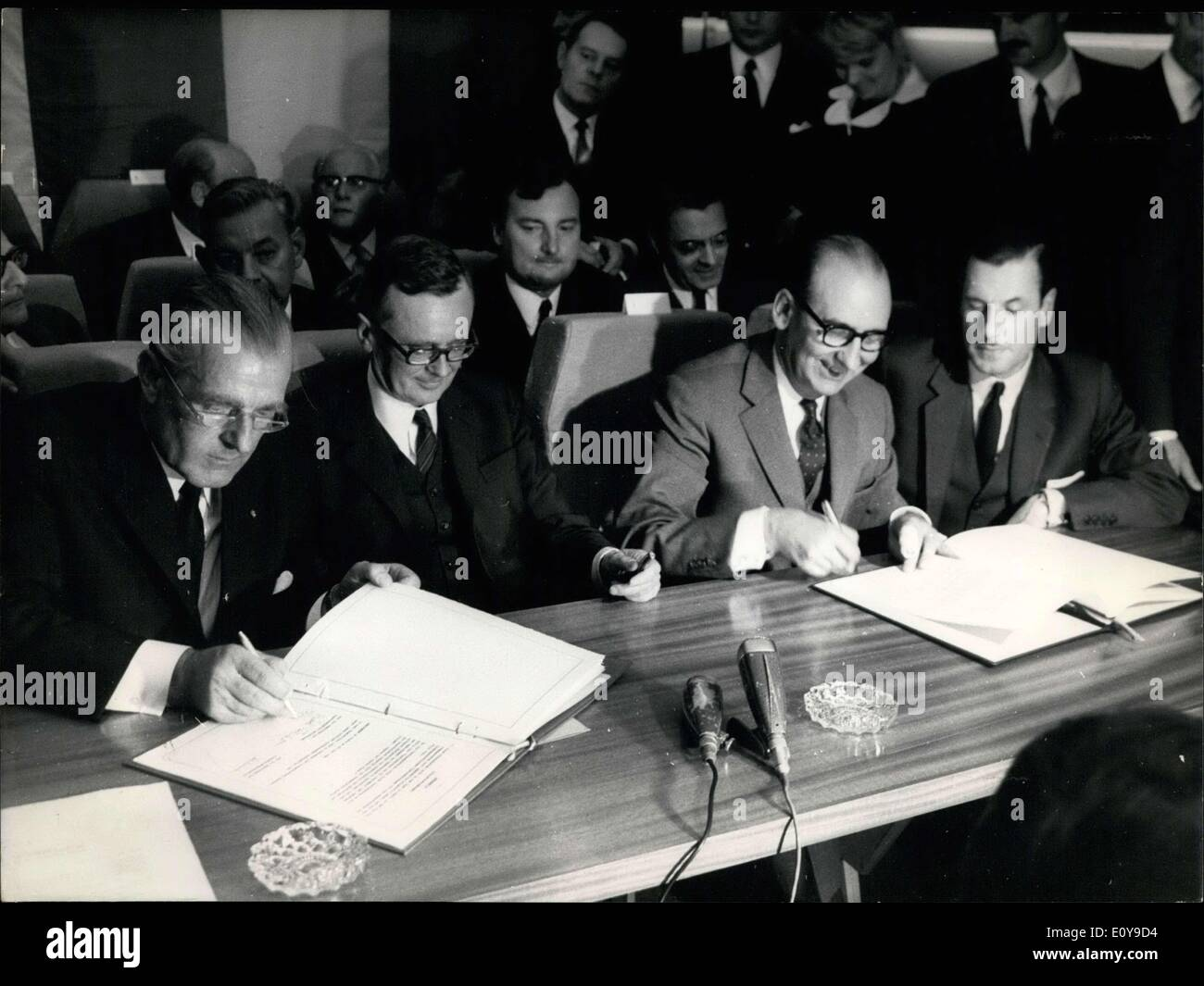May 29, 1969 - They are at the Aeronautics & Space Exposition at the Bourget Airport signing an agreement between France and Germany. Von Braun is the German Ambassador in Paris. Schiller is the German Minister of Economics. Chamant is the French Minister of Transportation. - Stock Image