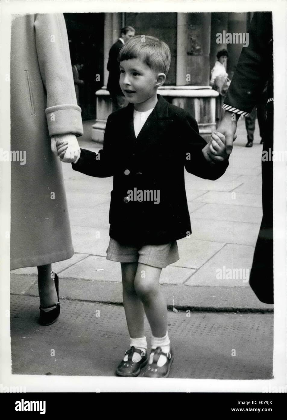 Jun. 06, 1969 - Boy aged five sues father - gets £6,500... Injured in accident when only ten weeks old. Five year old John Gearing was yesterday awarded £6,500 damages against his father - for brain injuries he received in a car crash when he was ten weeks old. the action was brought through his mother Mrs. Margaret Brodie, now remarried following dissolution of her marriage to John's father, The father- Mr. William Sidney Gearing denied negligence and blamed the other motorist involved in the crash - Stock Image