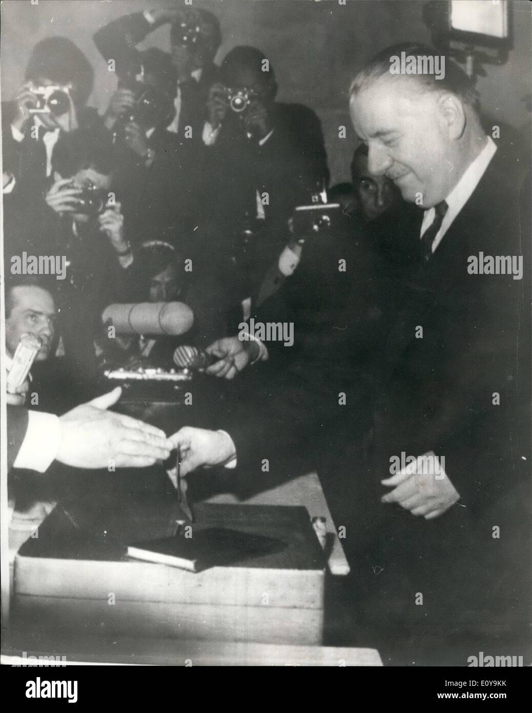 Jun. 06, 1969 - The electoral first round of the French Presidential Elections - Poher Casts his vote: Photo Shows Stock Photo