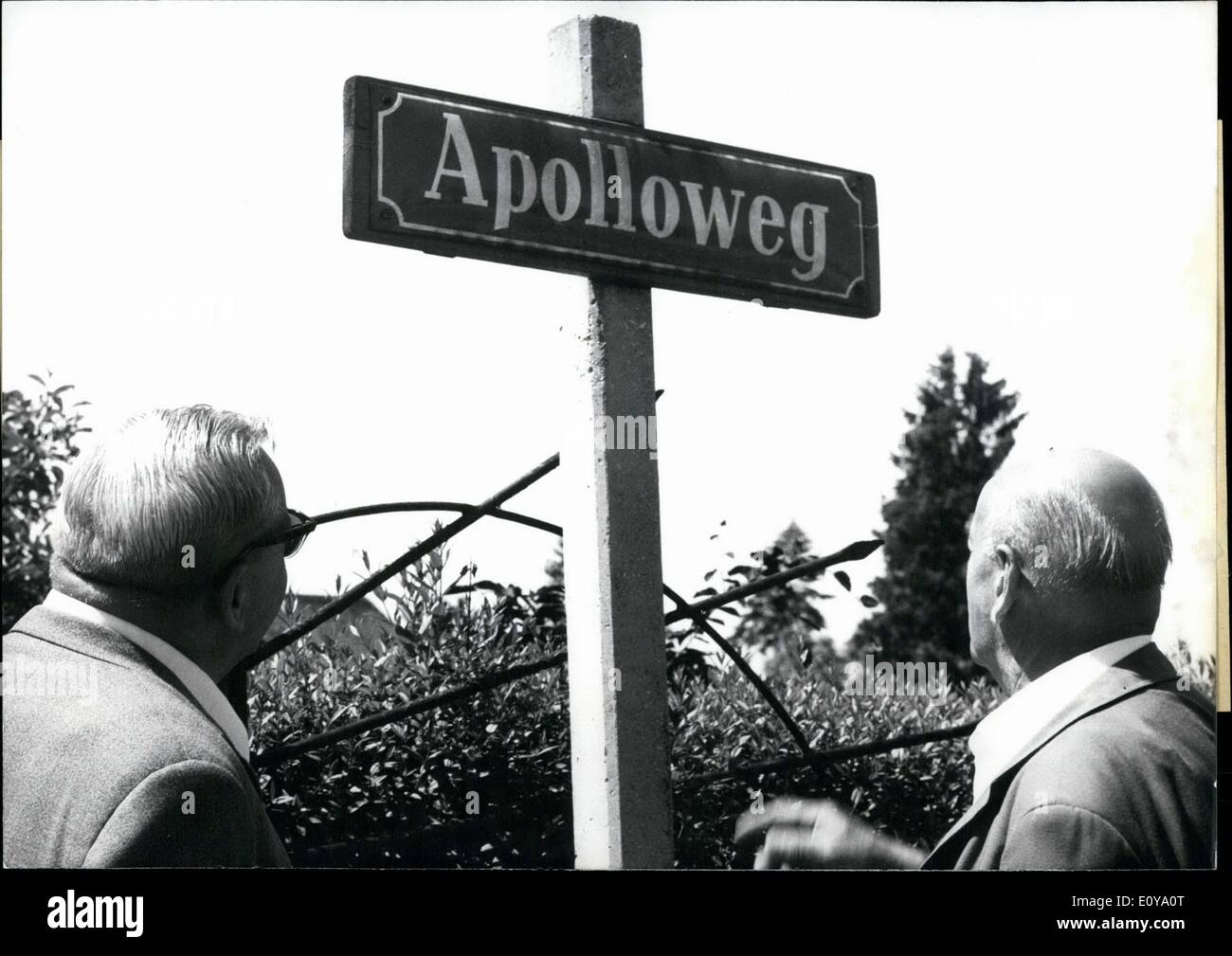 Jun. 11, 1969 - ''Apollo 16'' is not at Cape Kennedy...nor in Houston, Texas, but in Munich-Obermenzing! This sign humorously refers to the launch of the Apollo rocket ''zum Mond schie?t''(to the moon). The residents of ''Apolloweg 16'' have no intention of flight though! This street name probably has more to do with the Greek god than the American space program! - Stock Image