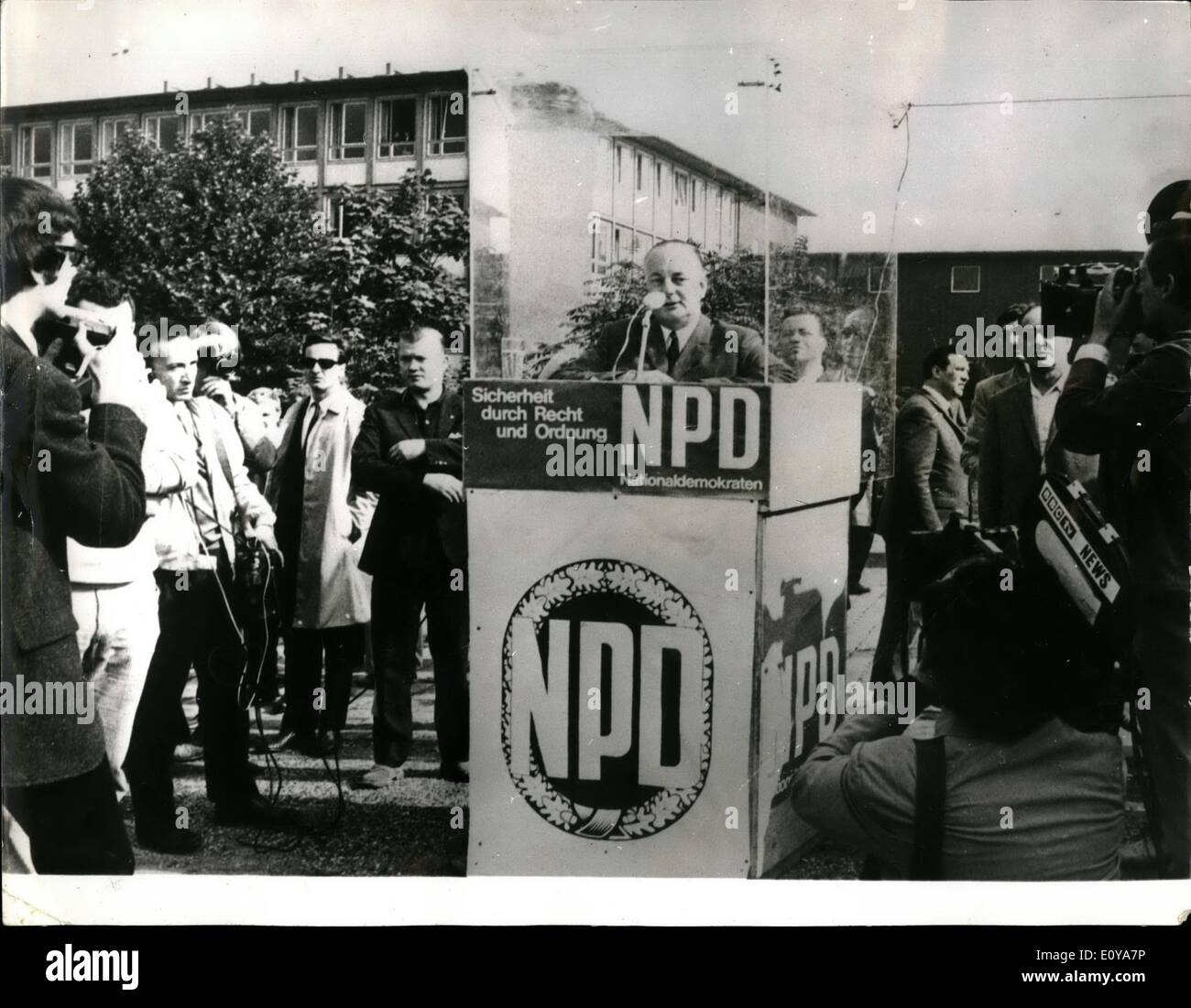 Sep. 09, 1969 - Final Week Of German Election Campaigns: More than 38 million West German will go to the pols in next Sunday's General Election. Photo shows During an NPD election rallly in Easen, ADOLF von THADDEN, chairman of the National Democratic Party) protested himself and his restrum by enclosing himself in plexi-glass. - Stock Image