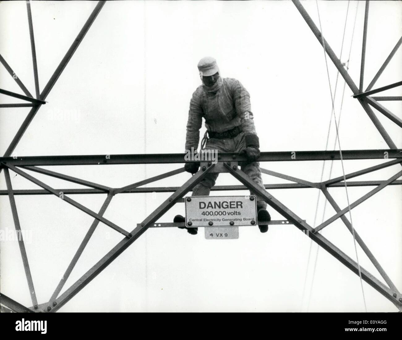 Sep. 09, 1969 - Sitting On 400,000 Volts. Electricity Board linesman ...