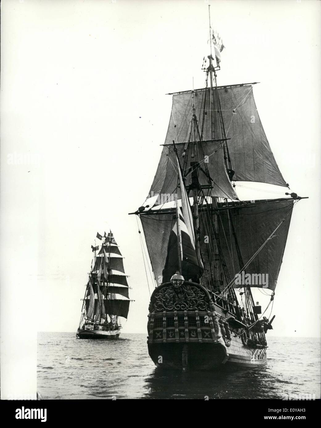 Sep. 09, 1969 - Accident of The Regina Maris Delays Sailing To Australia. A mock gun battle between two sailing ships in Plymouth Sound, was stopped after a cannon exploded injuring a young naval officer. Roger Callan, 22, had reloaded for his fifth shot from the deck of the Norwegian barquentine Regina Maris, when the charge burst in the barrel and blew up in his face. Boatswain Callan received extensive cuts and burns to his face and arms. After first aid treatment s motor launch landed him at Millbay Docks, where a waiting ambulance rushed him to hospital - Stock Image