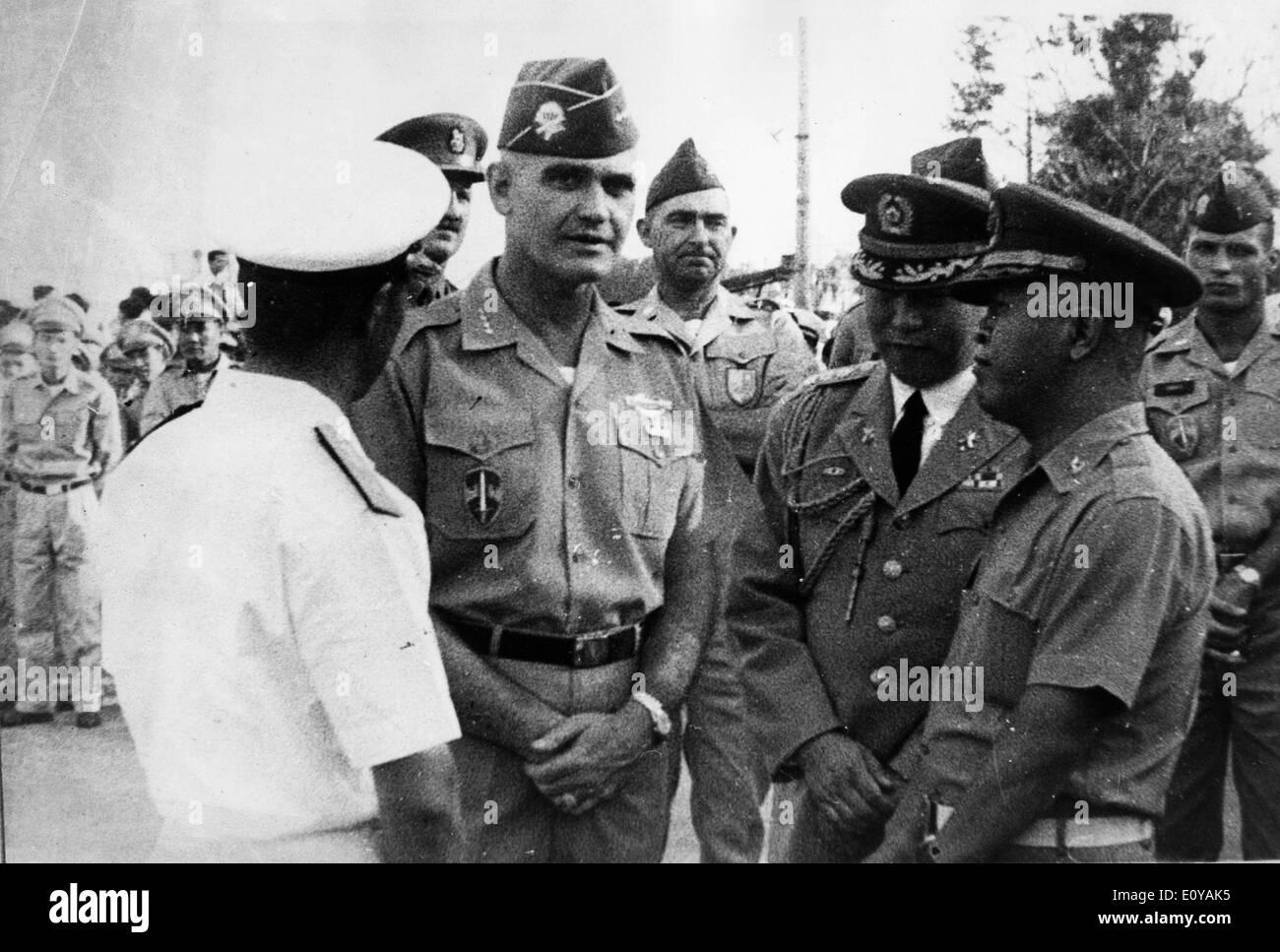 Sep 15, 1969; London, England, UK; U.S. Army General WILLIAM WESTMORELAND (1914-2005) while talking to Major DAVID FAULKNER - Stock Image