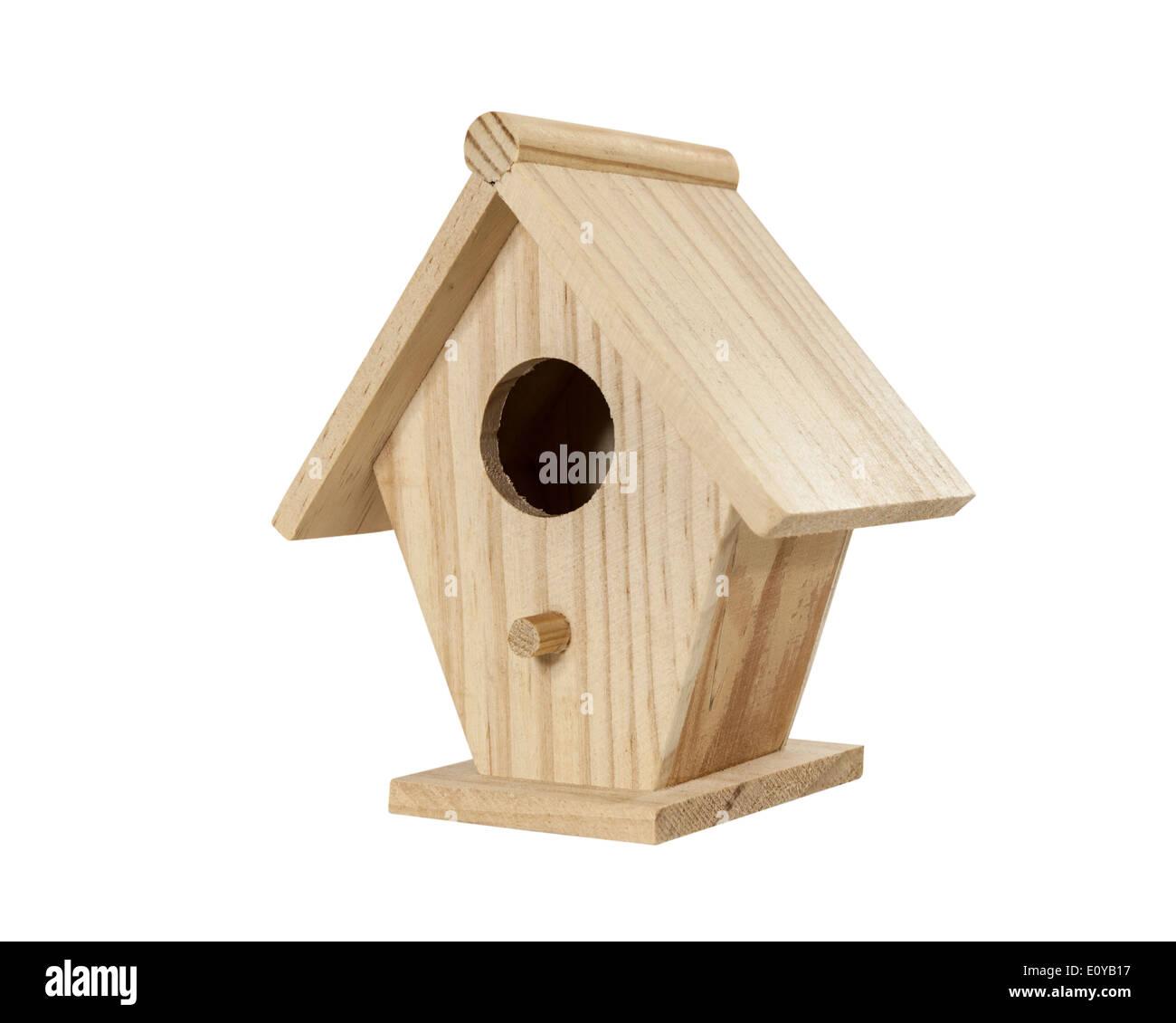 Little wood birdhouse isolated on white. - Stock Image