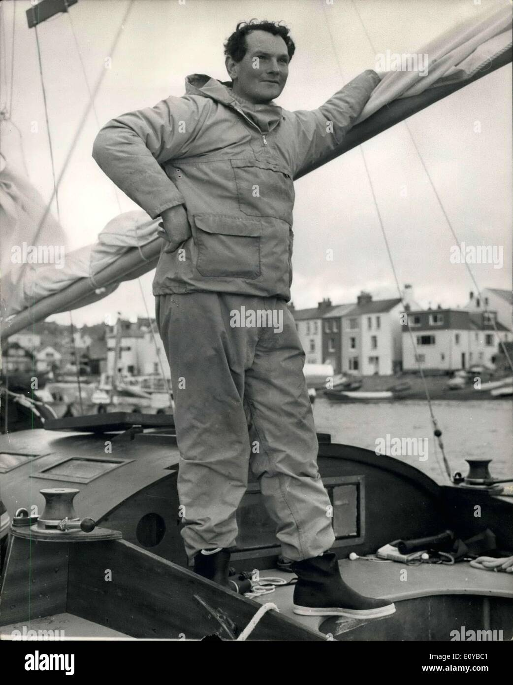 Jul. 27, 1969 - July 27th 1969 The lone sailor sensation. Donald Crowhurst 'never went round the world' Donald Crowhurst, the man hailed as a hero sailing single-handed around the world, never left the Atlantic during the 243 days he was at sea. The sensational discovery of his 'fake voyage' was announce by the Sunday Times newspaper, who organized the Golden Globe race. Crowhurst presumed dead after his 41-foot trimaran Teighnmouth Electron was found drifting 700 miles west of the Azores on July 10th, was favourite to win the £5,000 prize for the fastest time in the race - Stock Image