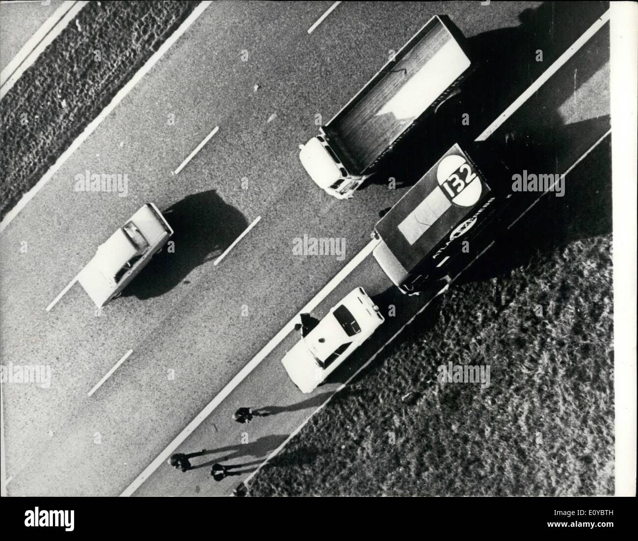 Oct. 10, 1969 - The Spy-in-the-sky helicopters employed to track down hijacked Lorries.: An operation was staged yesterday to demonstrate the efficiency of helicopters which have joined the Vehicle Obsever Corps, the voluntary organisation which watched for stolen lorries. Two helicopters are in the scheme at the moment, and later it is hoped that other private companies operating helicopters will join on a voluntary basis. The idea is that the pilots should report anything suspicious noted during their journeys - Stock Image