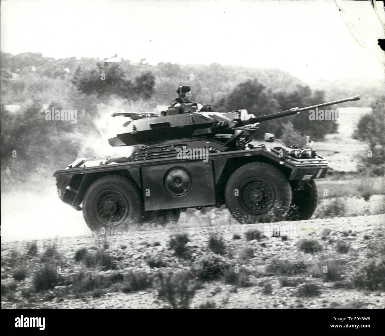 Oct. 10, 1969 - The New Fox Combat Reconnaissance Vehicle: Produced in conjunction with the Ministry of Defence and the Fighting vehicles Research and Development Establishment FOX continues Daimler's long association with the British Army. Built almost entirely of aluminium armour supplied by Alean Industries in has been designed to meet the military requirements of the 1970's and 1980's for a light-weight armoured reconnaissance vehicle of compact proportions capable of undertaking a wide variety of roles, including some which previously required larger and heavier vehicles - Stock Image