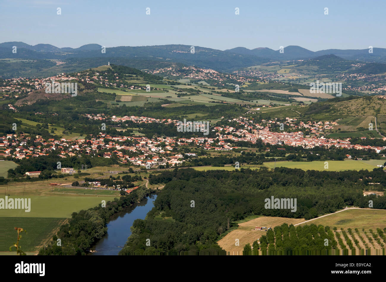 Valley of Allier in Limagne, Puy de Dome, Auvergne, France - Stock Image