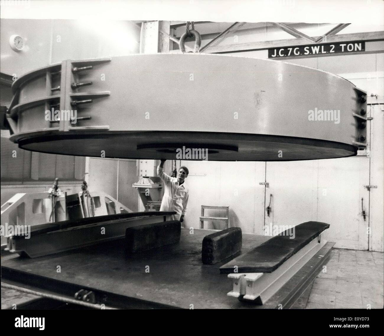Dec. 10, 1969 - 20 Ton Telescope Mirror Worth Quarter Of A Million Arrives For Polishing In Newcastle: The largest piece of glass ever imported into the United Kingdom, a 20 ton telescope Mirror, has arrived at the Grubb Parsone Works at Newcastle Upon Tyne for an eighteen month grinding and polishing operation. The new 155.5 inch mirror made of a zero-expansion glass-ceramic material called ''Cer Vit'' developed by Owens Illinois U.S.A. was cast in Toledo, Ohio, in April this year - Stock Image