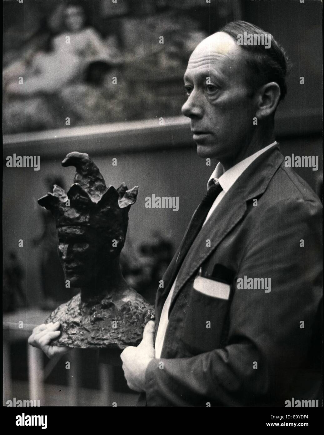 Dec. 12, 1969 - Sotheby's stage first ever complete sale of sculpture. The most important sale of modern sculpture held in Britain and the first complete sale of this kind ever held by Sotheby's is taking place this evening. One of the most important pieces of sculpture is ''Tete de ''Fou' by Pablo Picasso, a signed bronze 16 inches high, The model, for the lower part of the face was Max Jacob. The branze was executed in 1904 and was edited by Ambroise Vollard. Photo shows The Picasso Sculpture ''Tete de Vfou'' pictured at Sotheby's today where it was sold for $ 23,000. - Stock Image