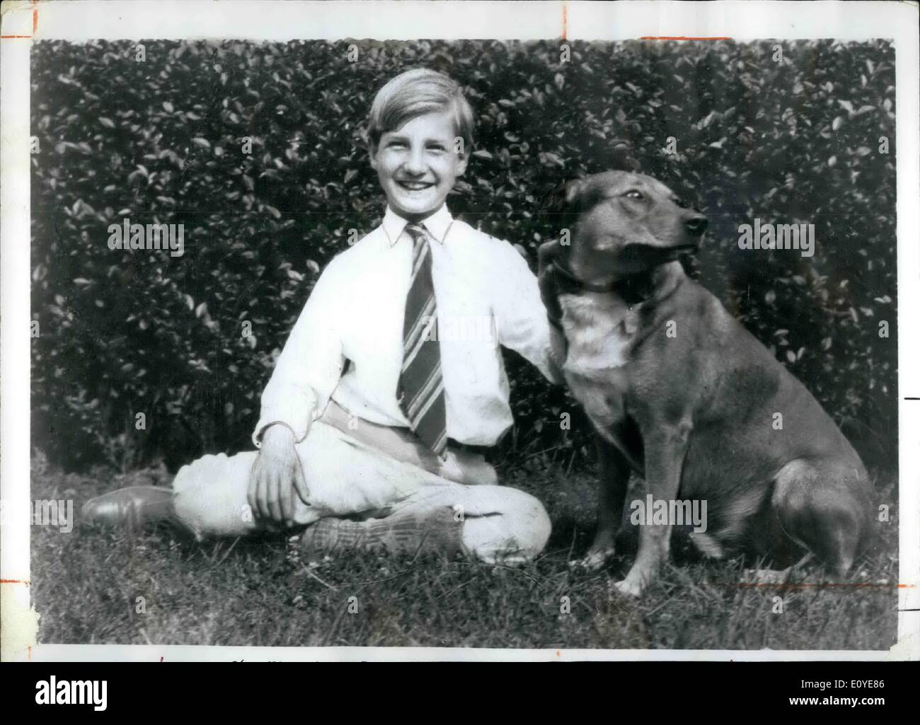 Jan. 01, 1970 - Spiro Agnew, who will take office as U.S. Vice President in January 1969 is shown at about age 12, with his dog. Agnew was born in Baltimore, Maryland, on November 9, 19718. - Stock Image