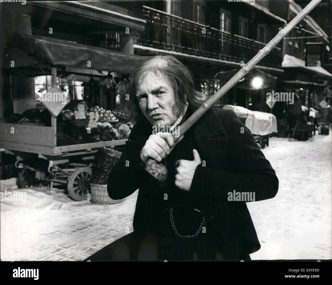 Jan. 01, 1970 - Albert Finney, Aged 33 British Actor Plays Ebenezer Scrooge In Screen Musical ''Scrooge'' By Denter Films And Replaces Rex Harrison, Who Withdrew Because Of Overwork And Fatigue: Albert Finney who rocketed to fame in the Film Tom Jones is playing the part of 70 year old Scrooge at Shepperton Studios, a 2 million epic. It takes two hours to make him up and after 12 hours filming another  to remove make up. He said on leaving the set yesterday. ''Scrooge'' ''I am dead.'' The part was first offered to Richard Barris but owing to another film dropped out - Stock Image
